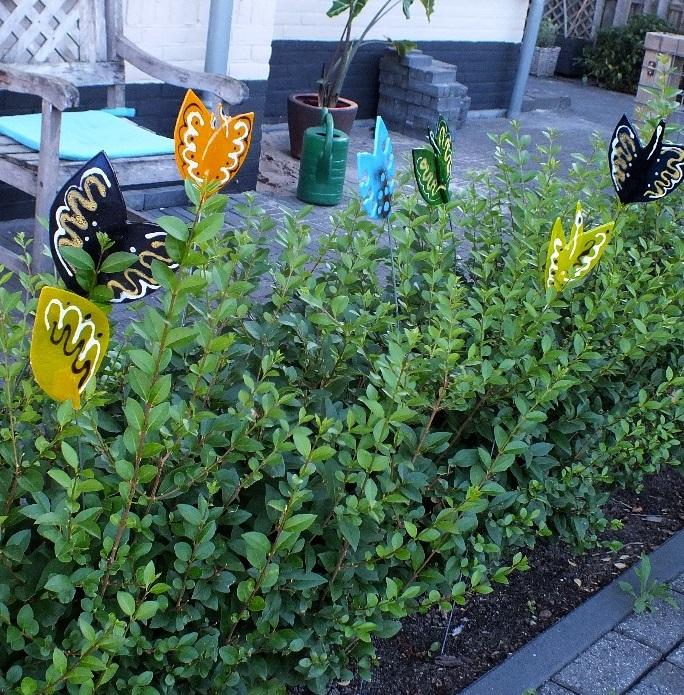 Glazen voorjaarsbloemen snijden