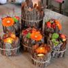 Herfst sfeerpotjes met schors