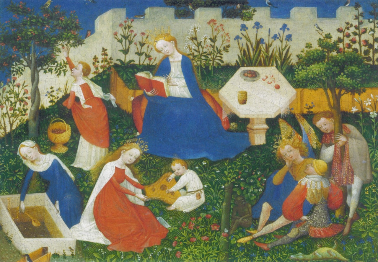 Witte lelie, blauwe iris, rode roos. (Verborgen) symboliek op middeleeuwse schilderijen