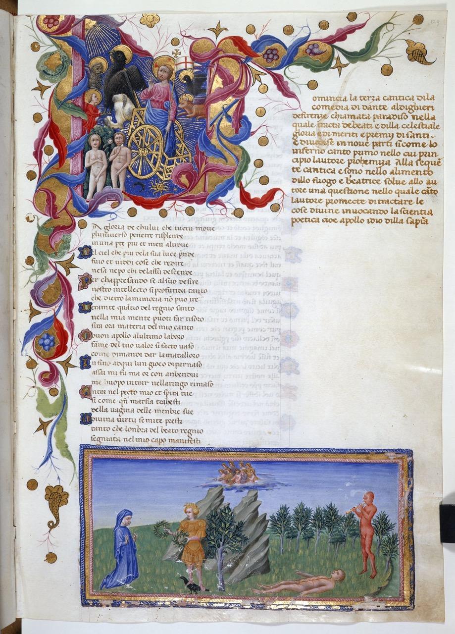 Giovanni di Paolo illustreert het Paradijs van Dante voor Alfonso V van Aragòn, Koning van Napels.