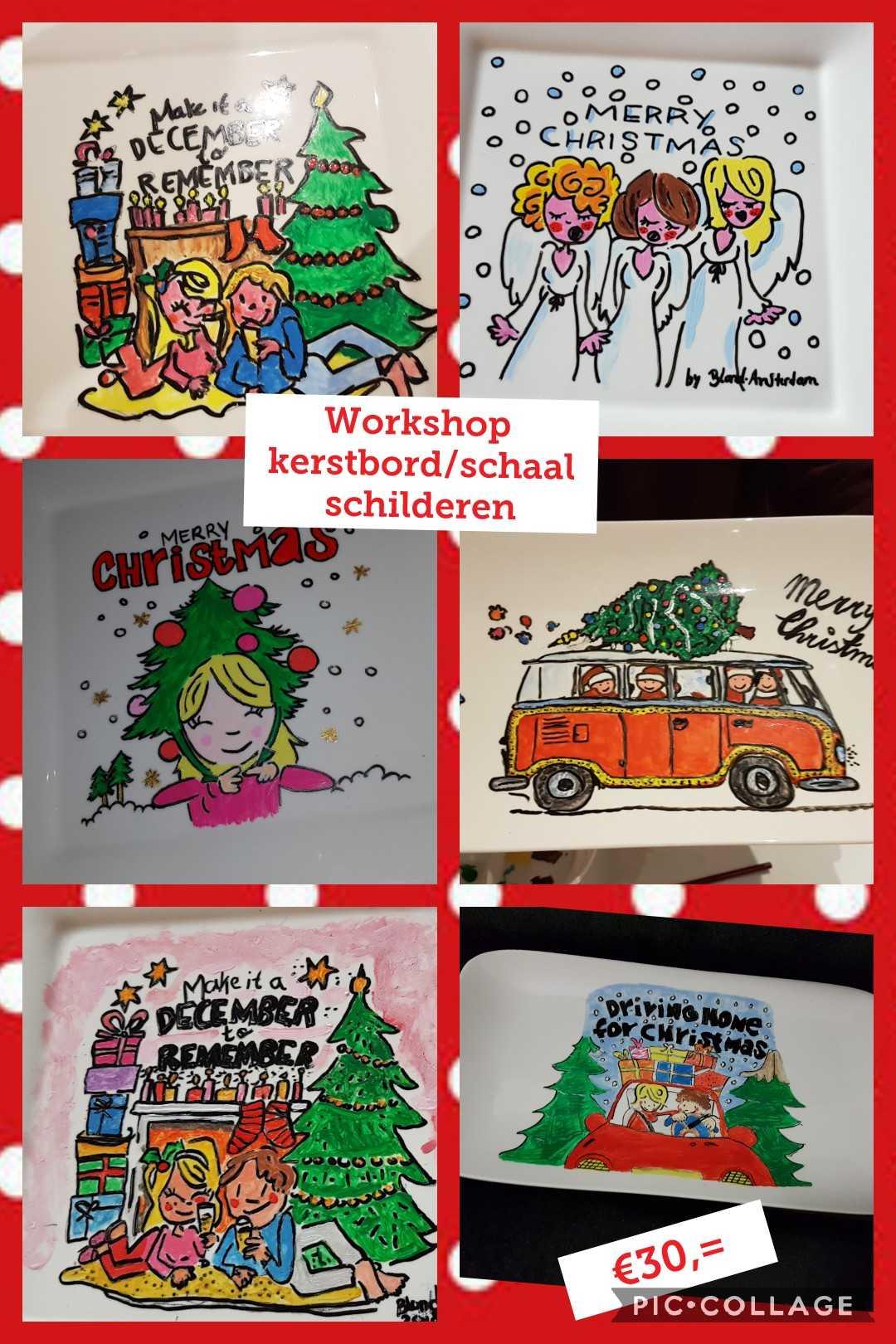 Kerstbord of een kerstschaal schilderen