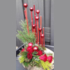 Kerststuk met rode takken