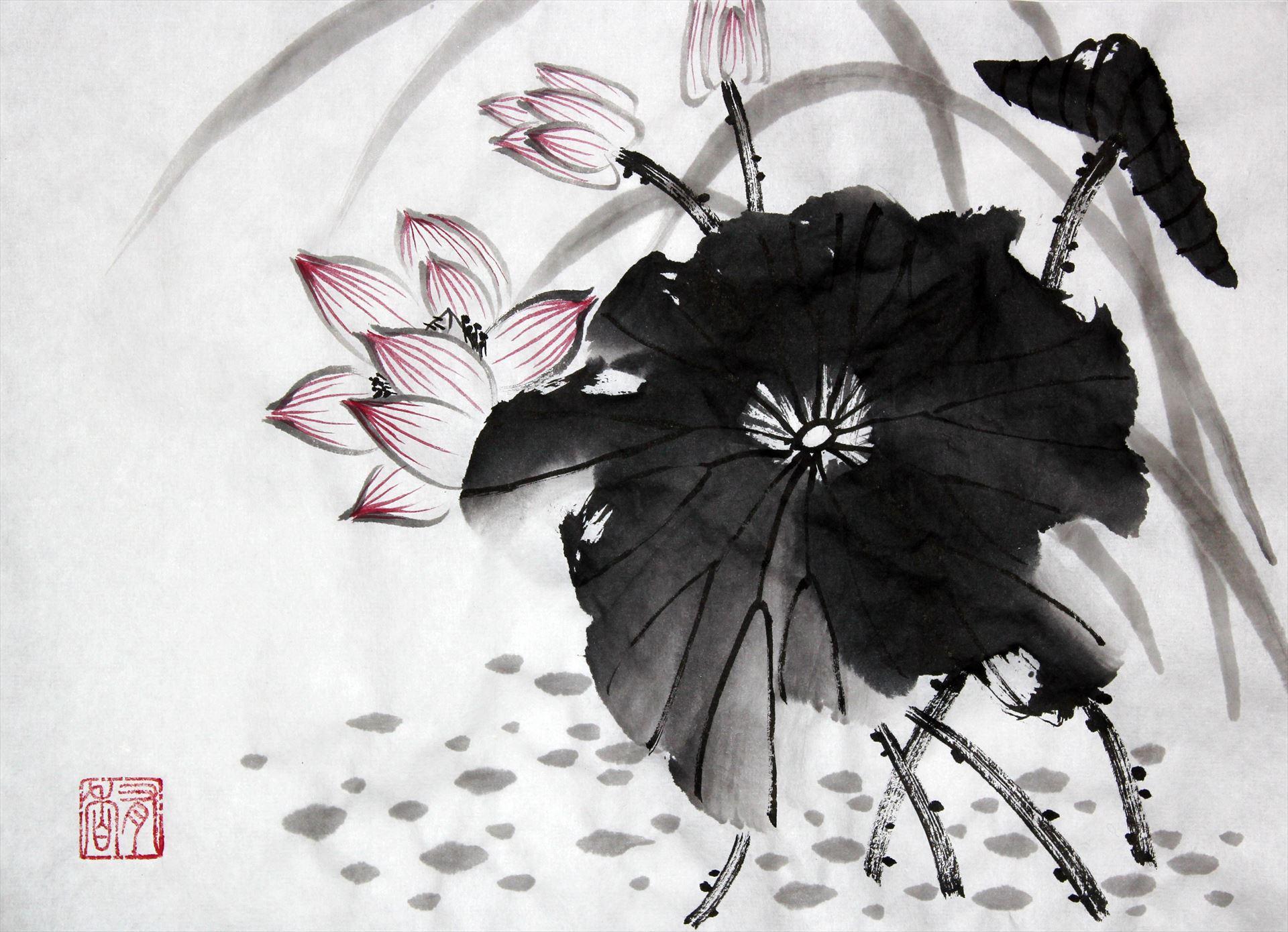 Japanse ink brush painting